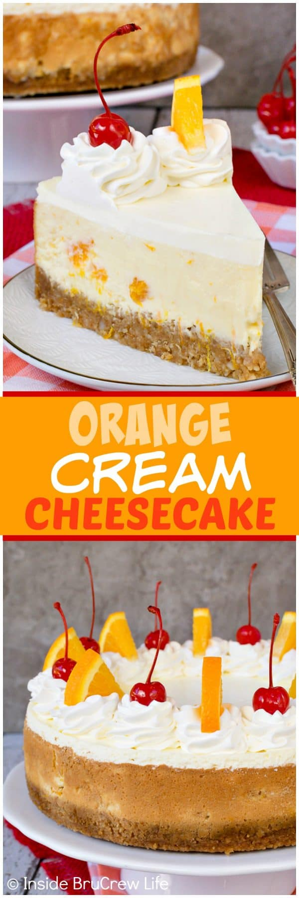 Orange Cream Cheesecake - this creamy orange cheesecake is loaded with orange chunks and has a crunchy nut crust that makes it taste amazing. Easy dessert recipe to make for spring and summer parties and picnics. #cheesecake #orange #macadamianuts #dessert #recipe #orange #spring #summer