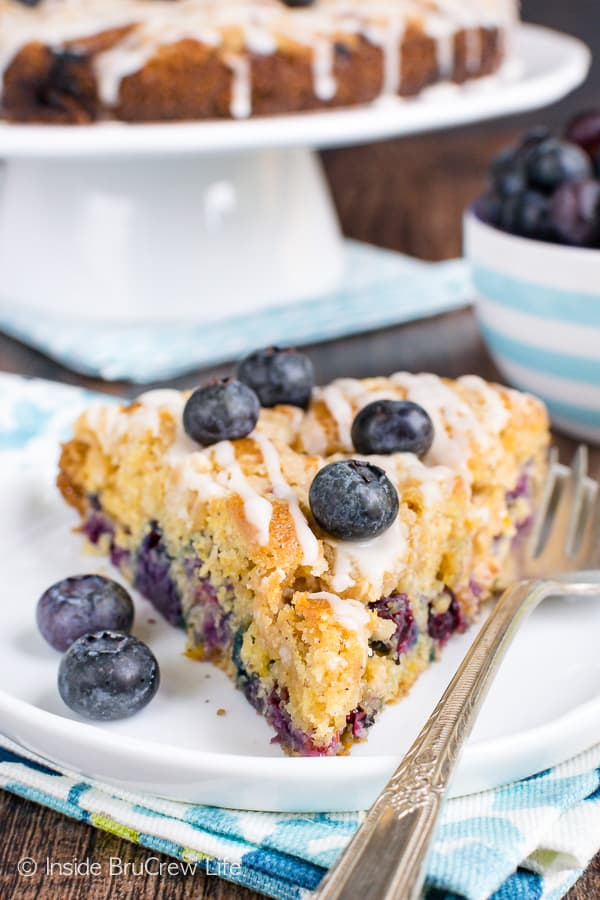 Blueberry Orange Crumble Cake - this soft coffee cake is loaded with fresh blueberries and streusel. Make this easy recipe for breakfast or brunch. #coffeecake #blueberry #orange #breakfast #brunch #mothersday #homemade #recipe #easy
