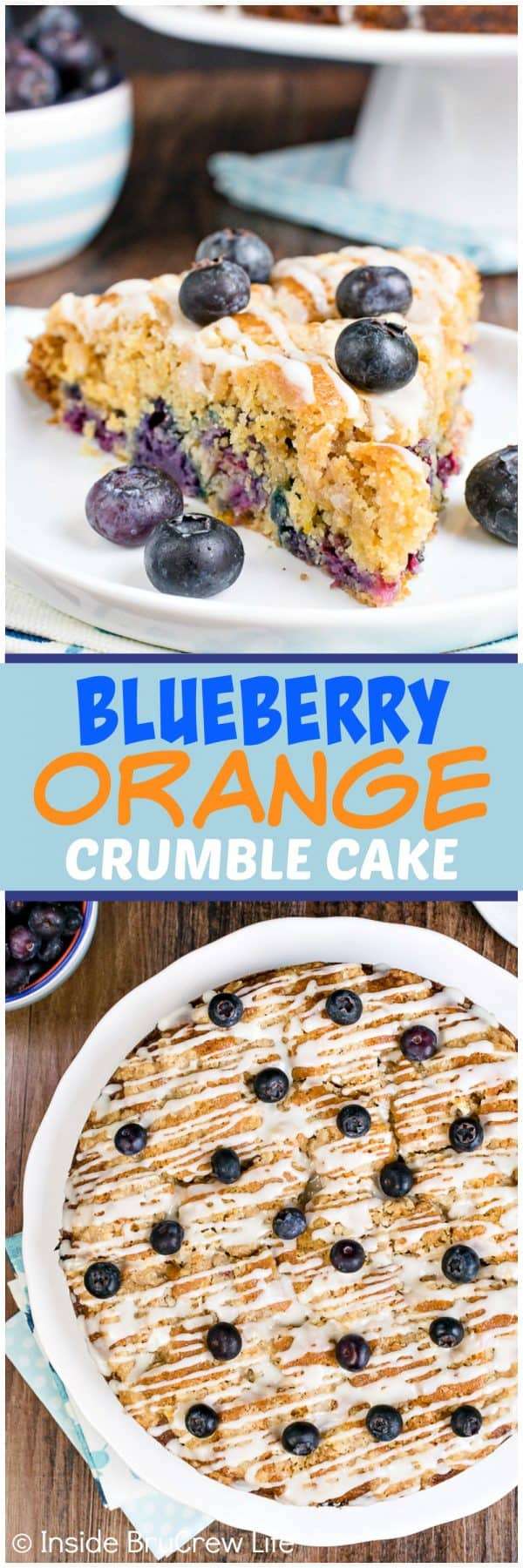 Blueberry Orange Crumble Cake - fresh blueberries, streusel, and glaze make this soft coffee cake taste amazing. Make this easy recipe for breakfast or brunch! #coffeecake #blueberry #orange #breakfast #brunch #mothersday #homemade #recipe #easy