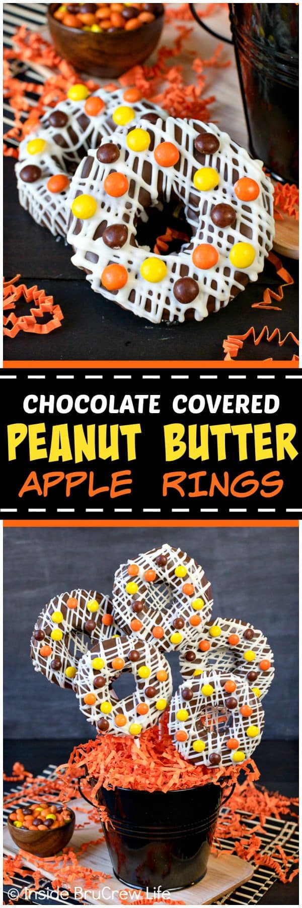 Chocolate Covered Peanut Butter Apple Rings - apple rings with a creamy peanut butter filling and dipped in chocolate with candies are a fun snack for after school or dessert. Make this easy no bake recipe into a bouquet for parties or events. #apple #peanutbutter #reesespieces #crunchpak #sponsored #mothersday #nobake #applerings #chocolate