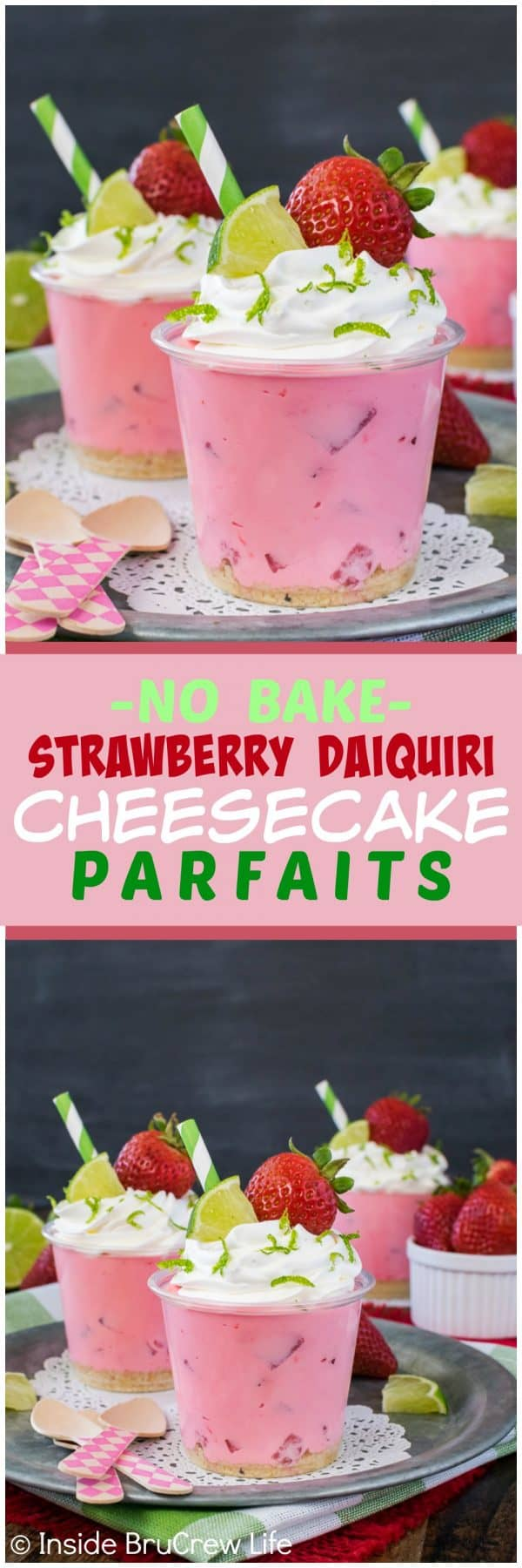 No Bake Strawberry Daiquiri Cheesecake Parfaits - layers of pink no bake cheesecake and cookie crumbs make these little strawberry cups the perfect dessert to try on a hot day. Make this easy recipe for spring and summer parties or picnics. #nobake #strawberry #kidfriendly #cheesecake #easydessert #cheesecakeparfaits #summerdessert