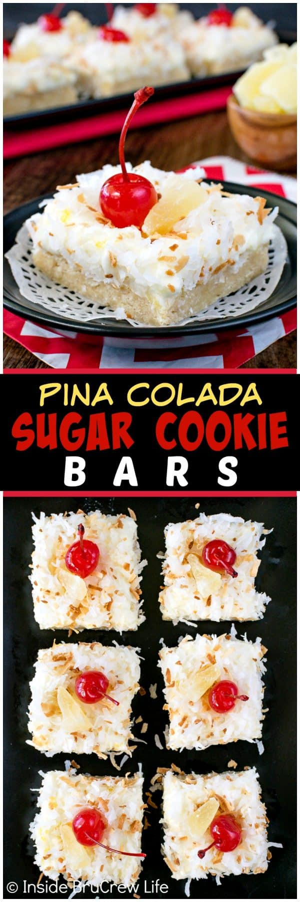 Pina Colada Sugar Cookie Bars - chewy coconut sugar cookie bars topped with a sweet pineapple frosting and more coconut. Make this easy recipe for summer parties and picnics. #sugarcookiebars #easy #dessert #frosting #pinacolada #pineapple #coconut #barcookies #bakesale