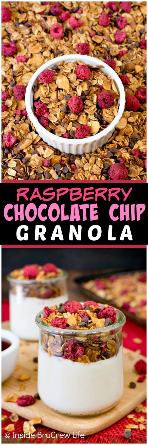 Raspberry Chocolate Chip Granola - this easy homemade granola is full of chocolate chips, raspberries, and almonds. Make this granola for cereal or yogurt parfaits. #breakfast #granola #homemade #healthy #raspberry #chocolate #cereal #parfaits #yogurt
