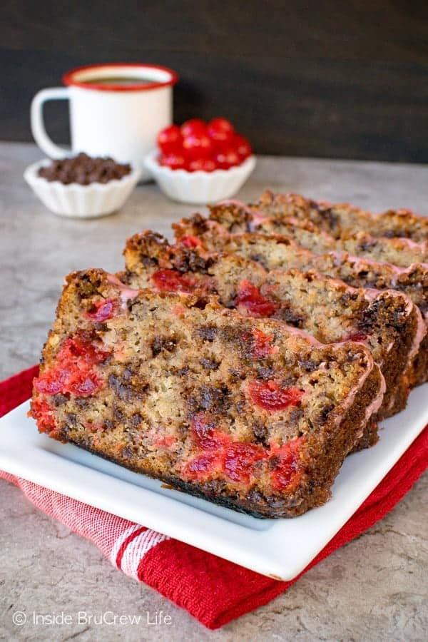 Cherry Chocolate Chip Banana Bread - adding chocolate and cherry to a classic banana bread takes it to a new level. Make this easy recipe for breakfast or brunch! It's amazing! #banana #cherry #breakfast #bananabread #chocolate #recipe