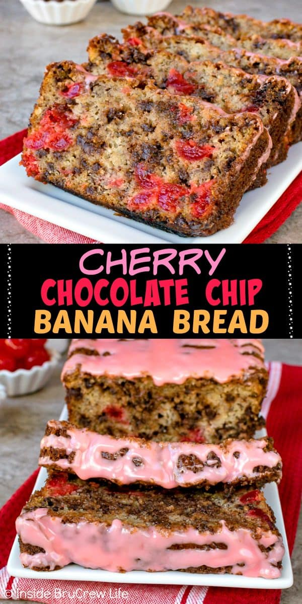 Cherry Chocolate Chip Banana Bread - this classic banana bread is loaded with chocolate and cherry chunks making it delicious! Make this recipe for breakfast or after school snacks! #banana #cherry #breakfast #bananabread #chocolate #recipe