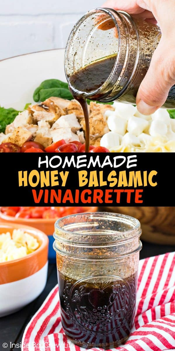 Homemade Honey Balsamic Vinaigrette - this homemade dressing is easy to shake up in a mason jar in five minutes. Make this recipe for mixed greens and veggie salads this summer! #dressing #vinaigrette #salad #homemade #honey #balsamic #recipe