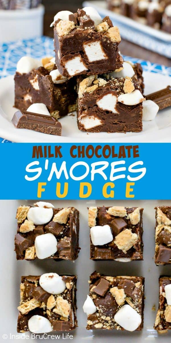 Milk Chocolate S'mores Fudge - this easy chocolate fudge is loaded with graham crackers, marshmallows, and candy bars giving it a great s'mores taste. Make this no bake recipe for summer parties. #chocolate #fudge #nobake #smores #marshmallow #easydessert #sweettreat