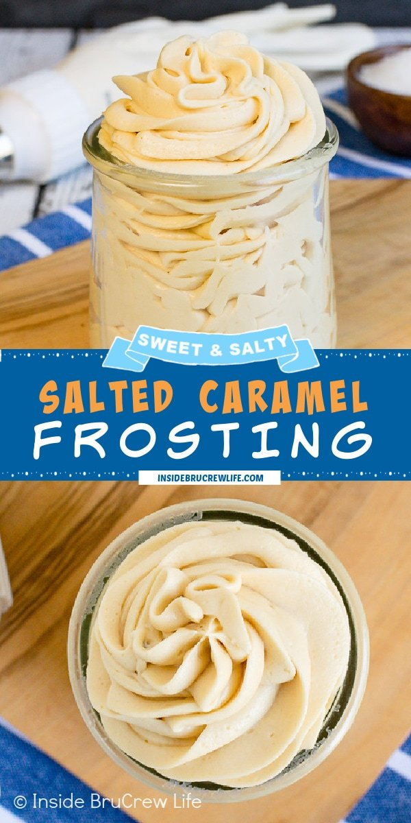 Two pictures of Salted Caramel Frosting collaged together with a blue text box.