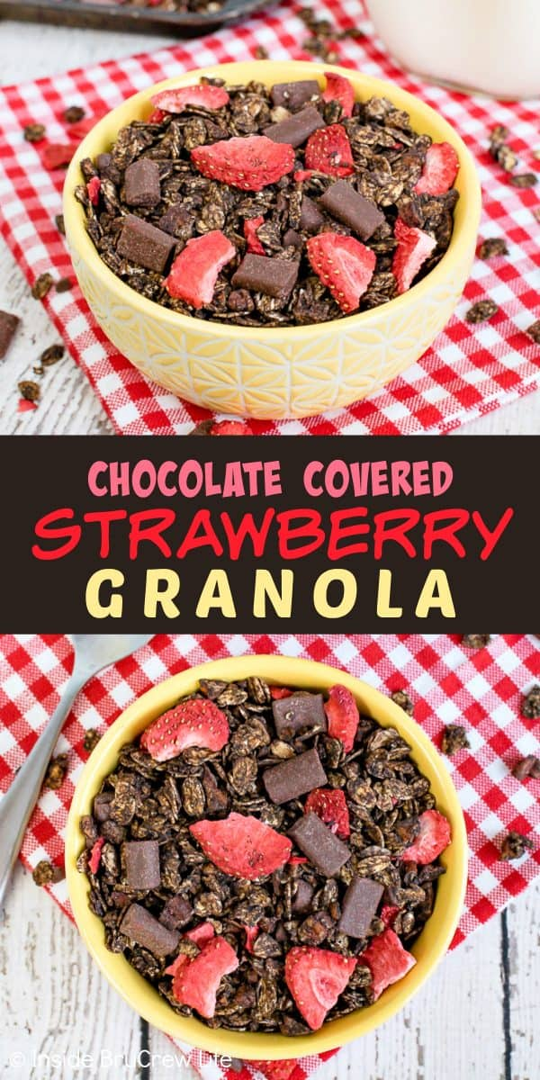 Chocolate Covered Strawberry Granola - chocolate chunks and strawberries make this homemade chocolate granola so delicious. It's great with milk or yogurt. Try this easy recipe for breakfast or an afternoon snack! #homemade #chocolate #breakfast #snackmix #strawberry #afterschoolsnack #healthy #healthysnack
