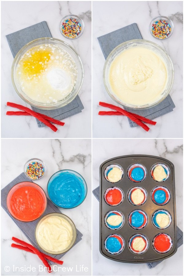 Four pictures collaged together showing how to make the red white and blue layers in firecracker cupcakes.