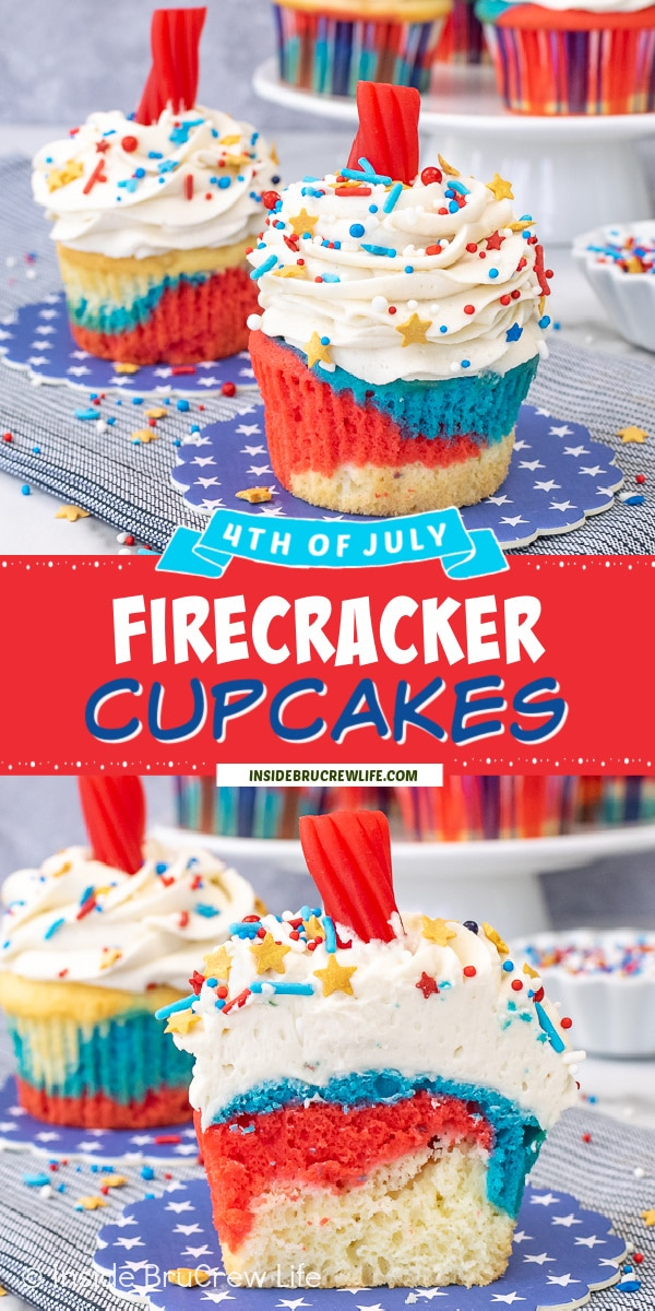 Two pictures of Firecracker Cupcakes collaged together with a red text box.