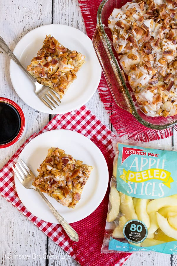 Maple Bacon Apple Cinnamon Roll Bake - adding apples, bacon, and maple syrup to refrigerated cinnamon rolls makes one awesome breakfast bake. #apple #bacon #cinnamonrolls #maple #easyrecipe #breakfast #brunch #breakfastcasserole #crunchpak