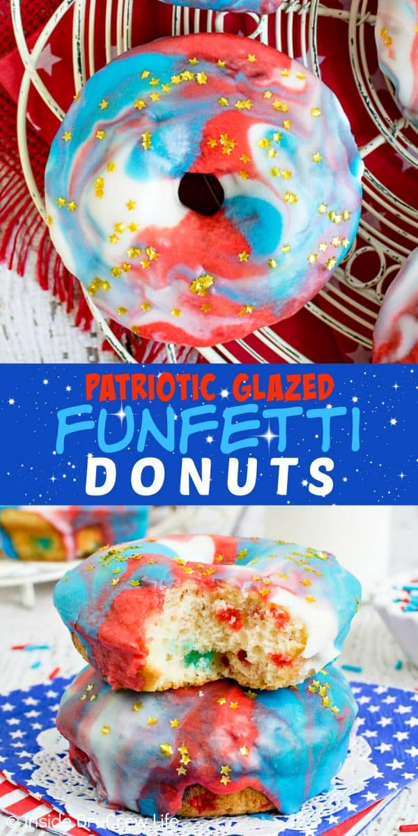 Patriotic Glazed Funfetti Donuts - gold star sprinkles and the red, white, and blue glaze on these baked donuts make them a pretty treat for the 4th of July. Try this easy recipe for summer breakfasts. #donuts #homemade #funfetti #redwhiteandblue #galaxydonuts #patriotic #4thofJuly #summer