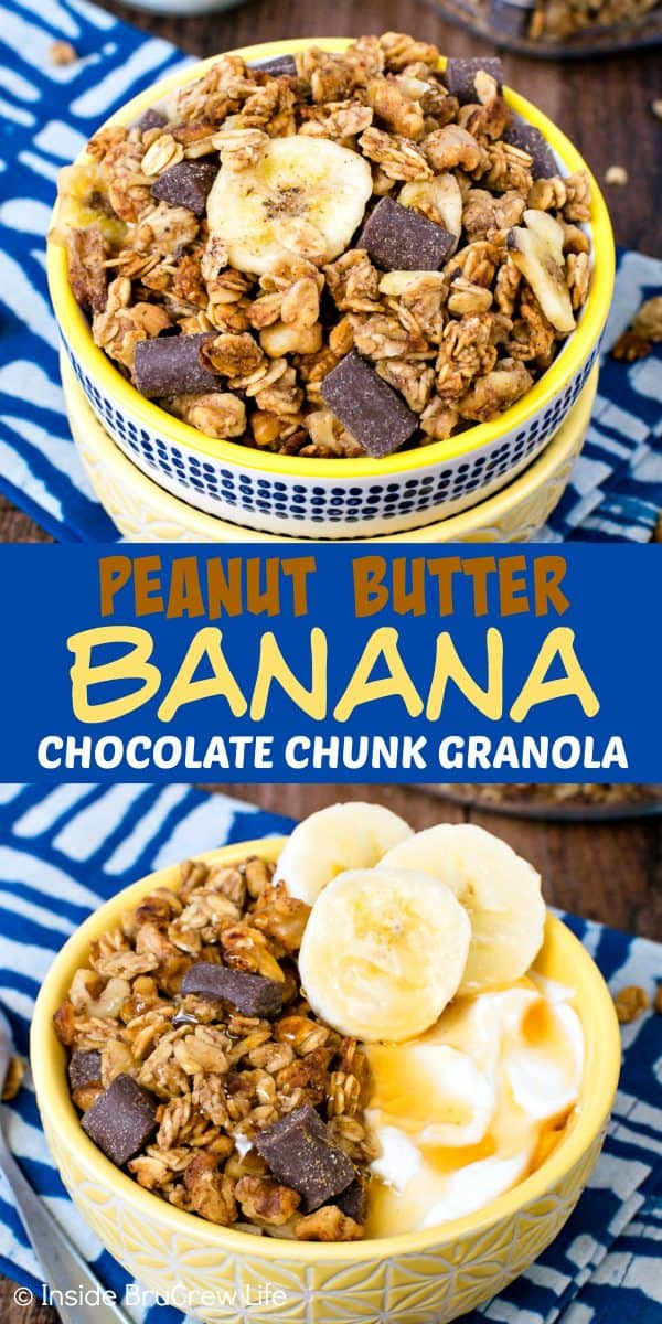 Peanut Butter Banana Chocolate Chunk Granola - this batch of homemade granola is loaded with peanut butter, banana, and chocolate. Make this easy recipe for a quick breakfast or afternoon snack. #homemade #granola #banana #chocolate #peanutbutter #breakfast #snackmix #snacking