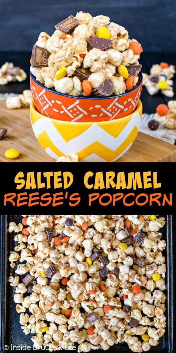 Salted Caramel Reese's Popcorn - this easy snack mix is coated in caramel chips and loaded with two kinds of Reese's candies. Sea salt gives is a great sweet and salty flavor. Try this recipe for your next movie night! #popcorn #saltedcaramel #peanutbuttercups #reesespieces #snackmix #nobake #sweetandsalty