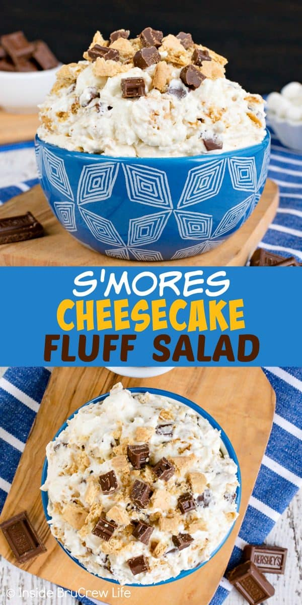 S'mores Cheesecake Fluff Salad - chocolate, marshmallows, and graham crackers make this easy no bake dessert salad a must make this summer. Try this recipe for parties and picnics and watch it disappear. #dessert #fluffsalad #smores #dessertsalad #picnic #chocolate #cheesecake #nobake