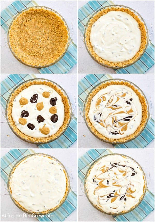 Six pictures showing how to fill and swirl the homemade ice cream and toppings in a chubby hubby ice cream pie