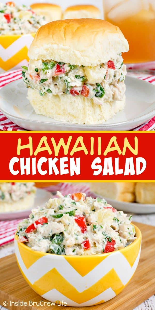 Hawaiian Chicken Salad - this healthy chicken salad is loaded with fruit, nuts, peppers, and Greek yogurt. Try this easy recipe on dinner rolls, salad, or lettuce wraps. #chicken #salad #healthy #dinner #picnicfood #easy #recipe #pineapple