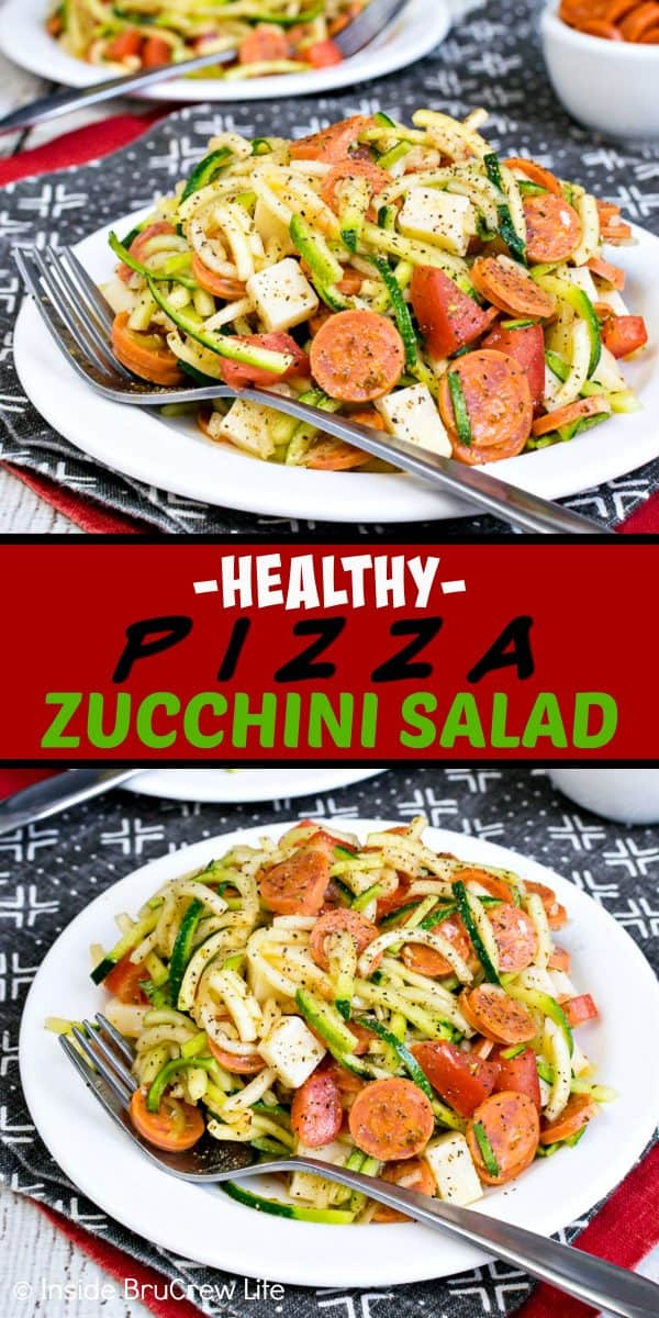 Healthy Pizza Zucchini Salad - zucchini noodles and your favorite pepperoni pizza toppings make this a healthy side dish. Make this easy recipe for summer picnics and barbecues. #zucchini #zoodles #salad #pizza #pepperoni #healthy #leanandgreen #sidedish #picnic