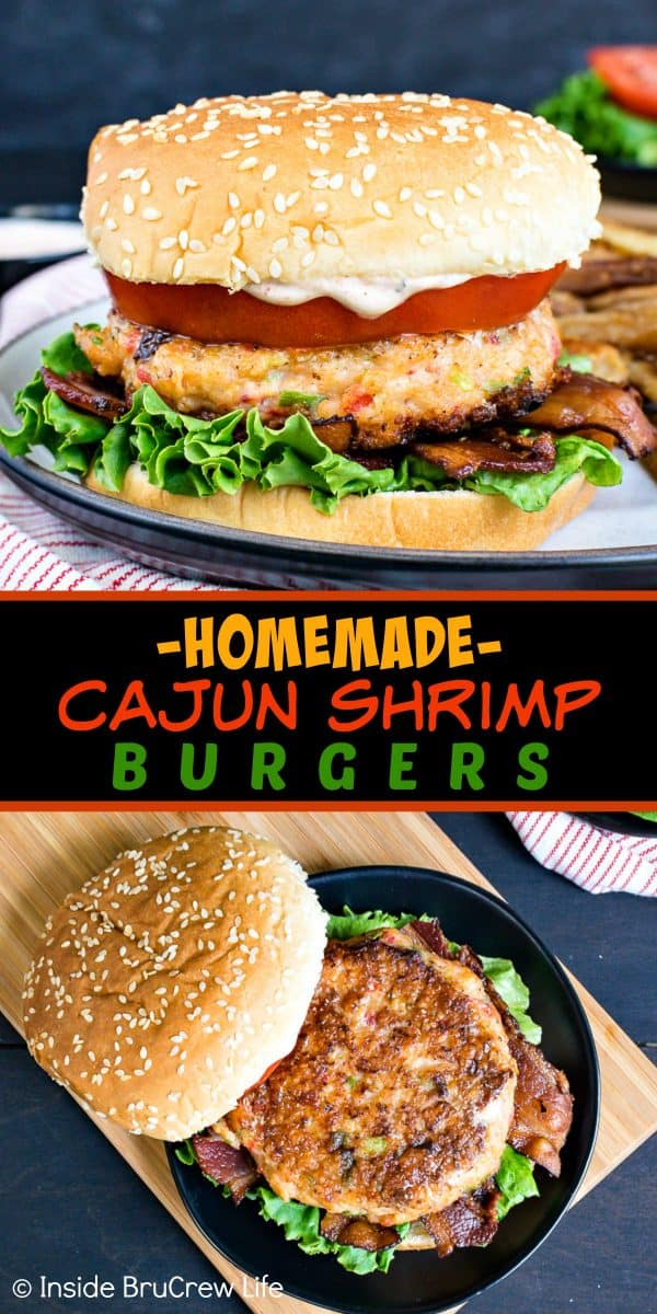 Homemade Cajun Shrimp Burgers - these easy shrimp burgers are loaded with cajun flavor and are ready in under 30 minutes. Try them on a bun with tomatoes and bacon or eat them as a lettuce wrap if you are eating healthy! #shrimp #burger #healthy #dinner #recipe #cajun #homemade