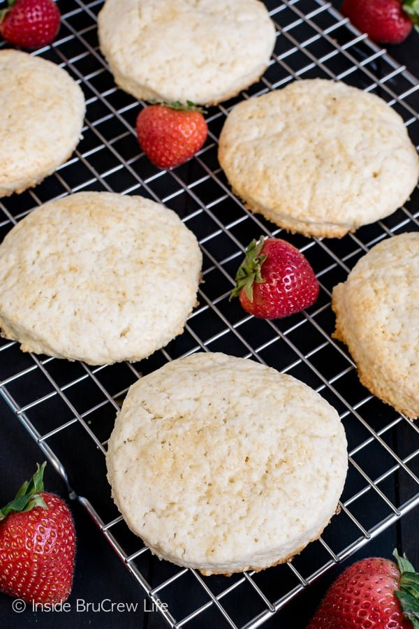 Homemade Strawberry Shortcake - these sweet homemade biscuits are great when you layer them with fresh berries and cream. Make this classic dessert for any party or event. #strawberry #shortcake #homemade #biscuits #summerdessert #recipe