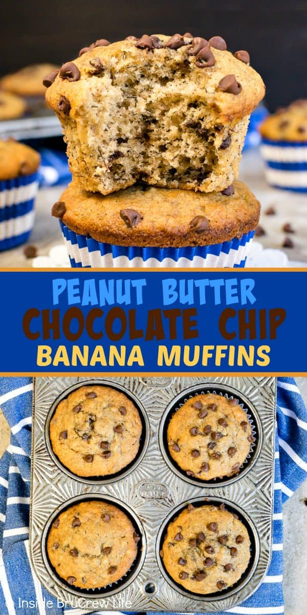Peanut Butter Chocolate Chip Banana Muffins - these soft fluffy banana muffins are loaded with chocolate chips and peanut butter. Try this easy breakfast muffin the next time you have ripe bananas on the counter. #breakfast #muffins #peanutbutter #banana #chocolatechips #brunch #freezerfriendly