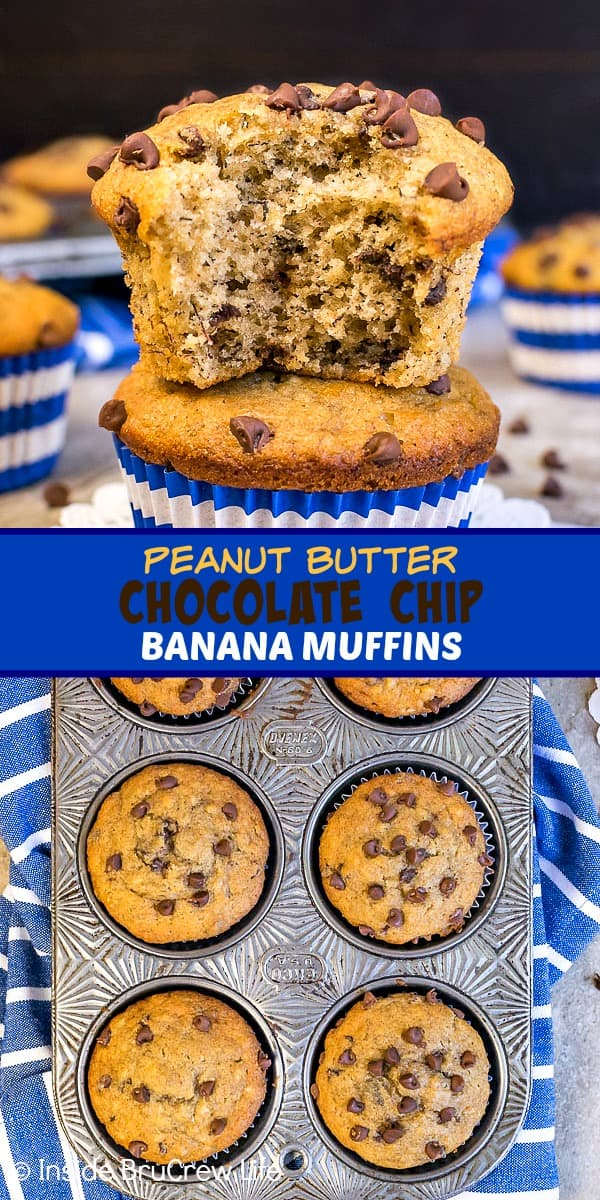 Two pictures of peanut butter chocolate chip banana muffins collaged together with a blue text box