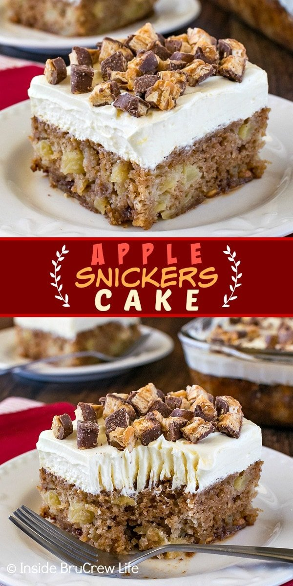Two pictures of Apple Snickers cake collaged together with a red text box
