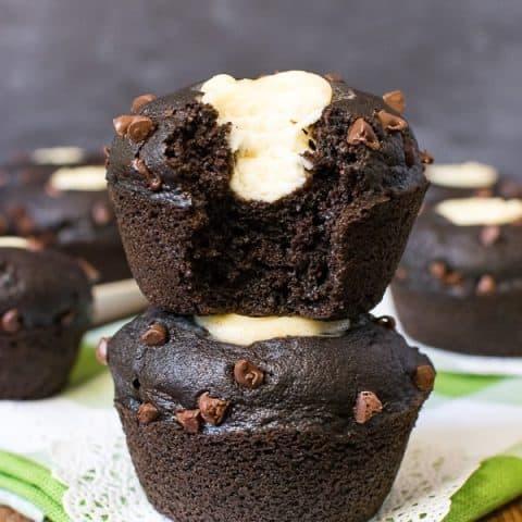 Chocolate Zucchini Cheesecake Muffins