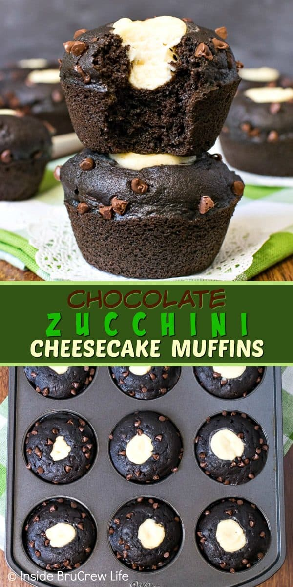 Chocolate Zucchini Cheesecake Muffins - a cheesecake center and chocolate chips makes these delicious zucchini muffins a hit with everyone. Try this easy recipe for breakfast or as an after school snack! #chocolate #zucchini #cheesecake #muffins #breakfast #recipe