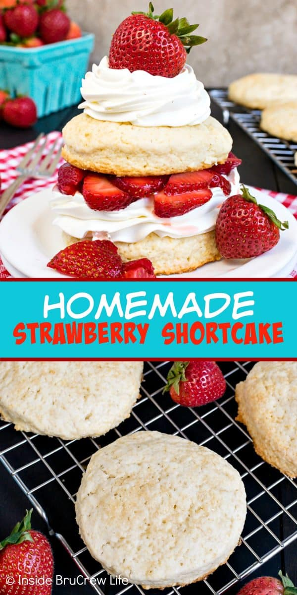 Homemade Strawberry Shortcake - layers of sweet biscuits, fresh strawberries and whipped cream is a delicious classic dessert that everyone loves any time of year. Make this easy recipe for any party or event! #strawberry #shortcake #homemade #biscuits #summerdessert #recipe