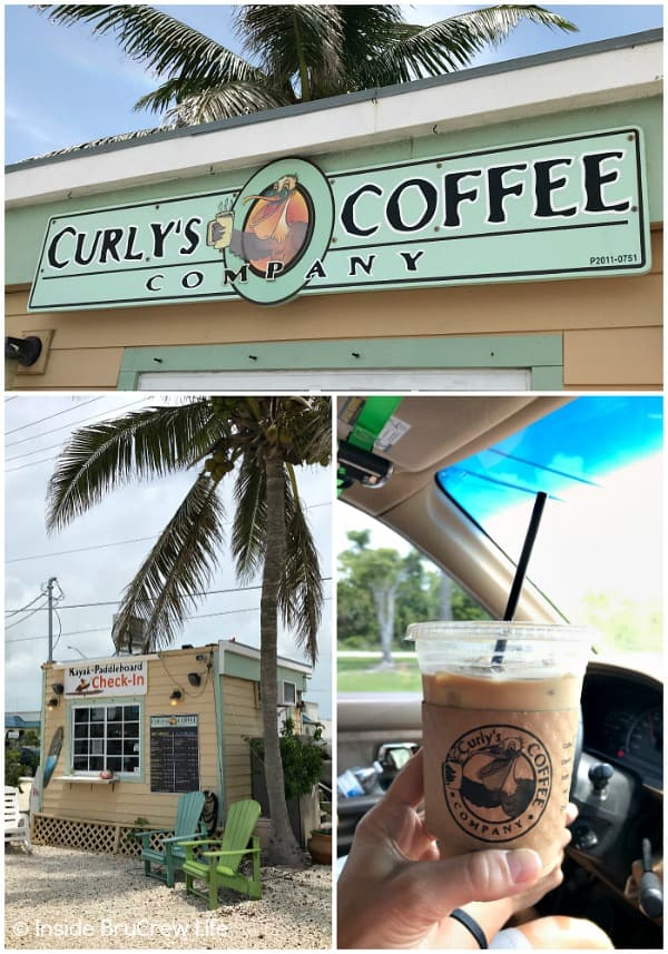 Fun Things to do While Driving the Florida Keys - stop at Curly's Coffee for a great cup of coffee. This little drive through coffee shack is located in Marathon by the water. #travel #Florida #sunshinestate #roadtrip