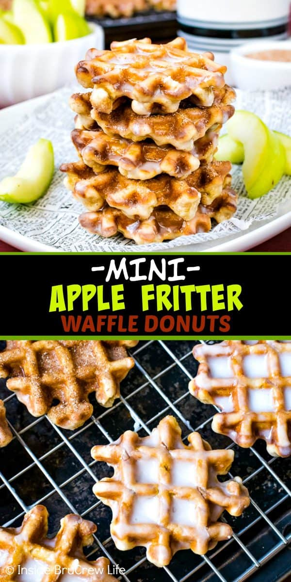 Mini Apple Fritter Waffle Donuts - these little homemade waffle donuts are loaded with apples and dunked in a sweet glaze. Make these donuts for after school snacks or breakfast this fall. #apple #waffles #donuts #applefritters #fallsnacks #breakfast #afterschoolsnack #waffledonuts #crunchpak