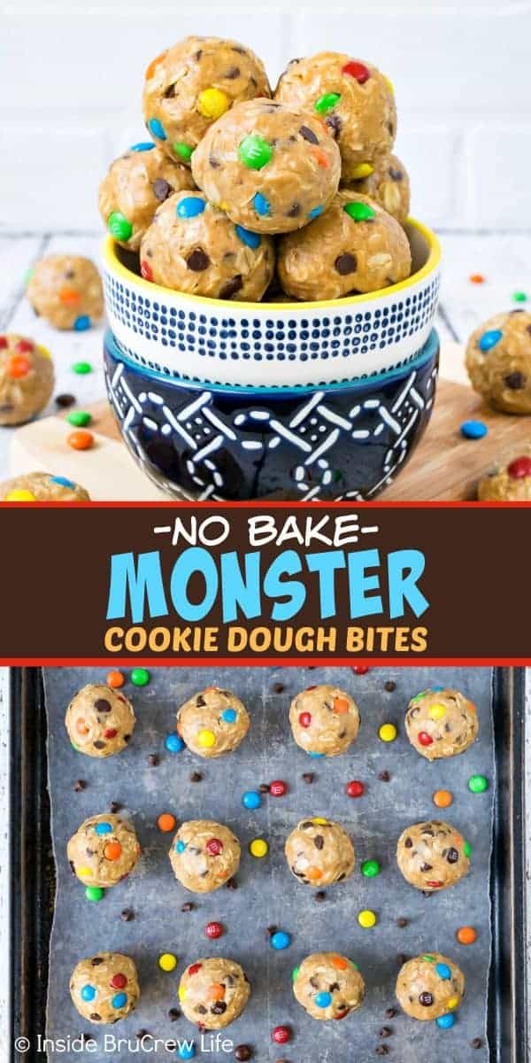 No Bake Monster Cookie Dough Bites - these healthy peanut butter bites are loaded with chocolate chips and candies for a fun monster cookie flair. Great recipe for breakfast or afternoon snacks! #energybites #oatmealbites #peanutbutter #healthy #afterschoolsnack #oats #cookiedough #nobake #monstercookies