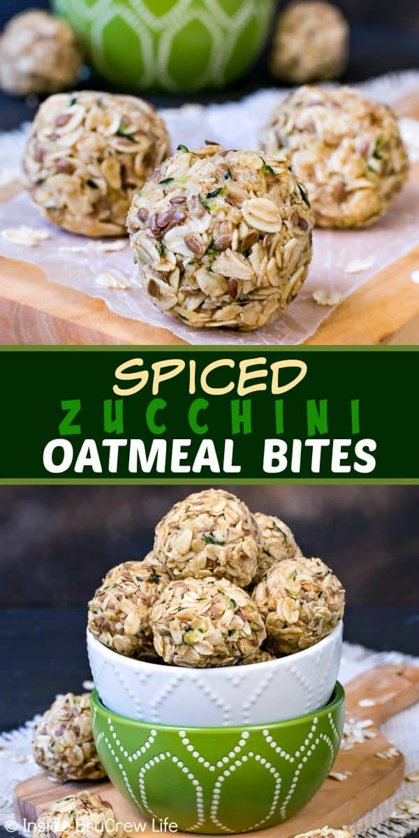 Spiced Zucchini Oatmeal Bites - these little no bake oatmeal bites are a delicious option for breakfast or after school snacks. Try this energy bite recipe for an easy and healthy grab and go option on busy days! #oatmeal #energybites #healthy #nobake #zucchini #afterschool #breakfast #recipe