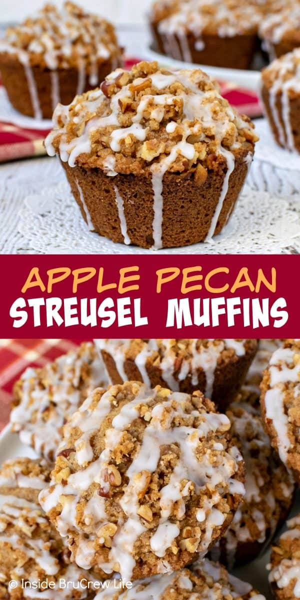 Apple Pecan Streusel Muffins - a sweet glaze and crunchy streusel topping makes these soft apple muffins an amazing breakfast treat. Perfect recipe to make this fall! #apple #muffins #fall #breakfast #pecan #afterschoolsnacks