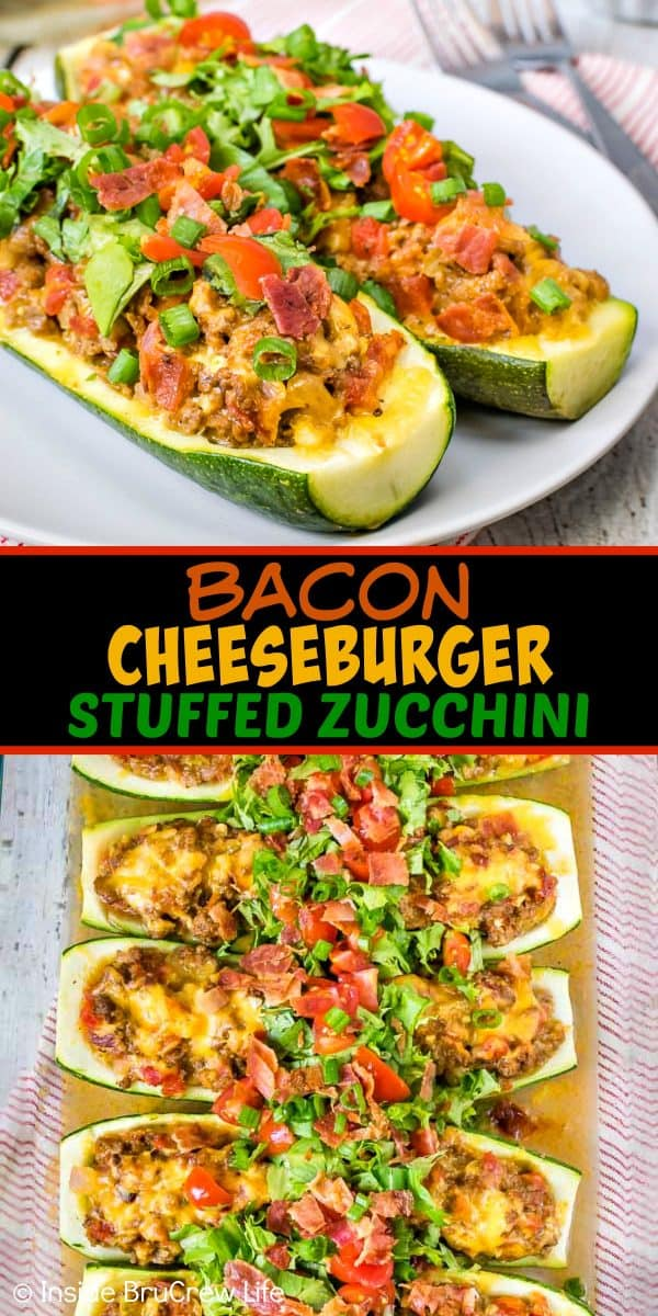Two pictures of bacon cheeseburger stuffed zucchini collaged together with a black text box.