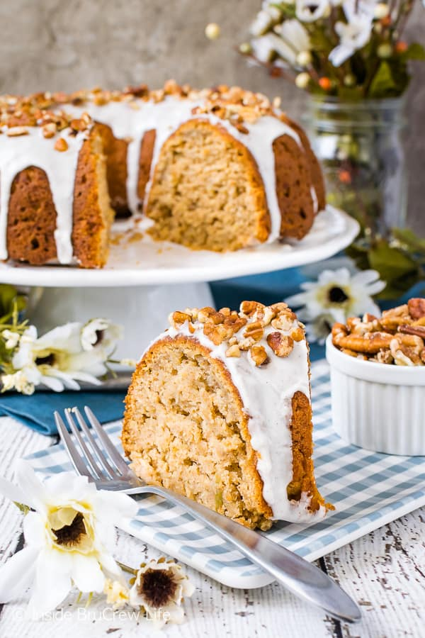 Chai Spiced Apple Bundt Cake - chai spices, a sweet glaze, and pecans make this easy apple cake taste amazing! Try this recipe for fall desserts or parties! #cake #apple #chai #bundtcake #homemade #crunchpak #fall #recipe