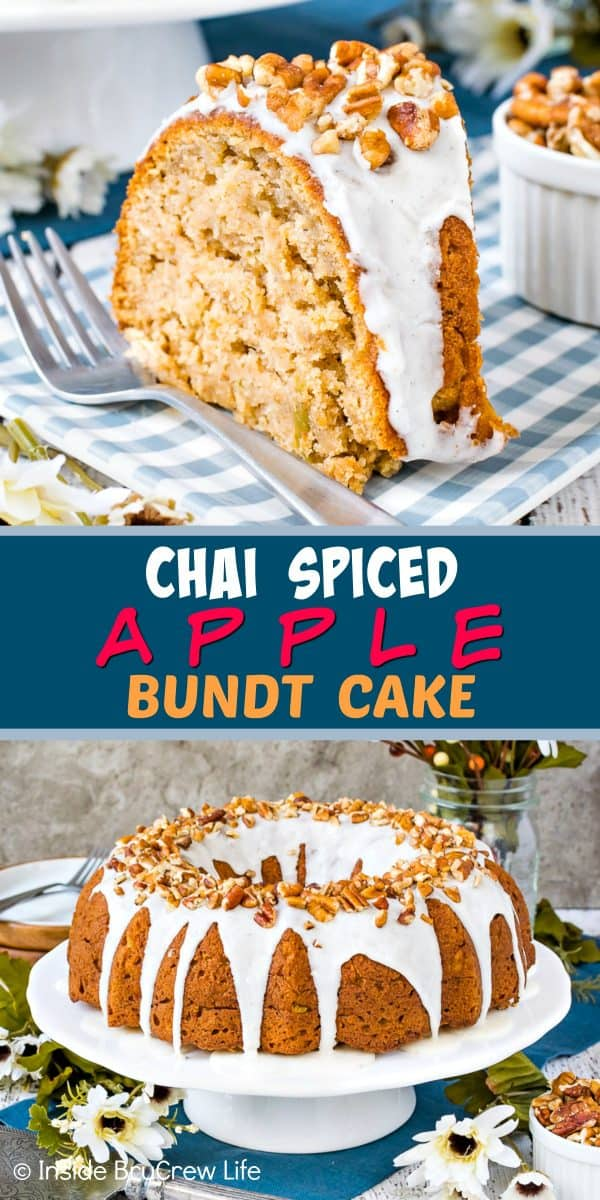Chai Spiced Apple Bundt Cake - a sweet vanilla glaze and pecans on a soft homemade apple cake makes this the perfect fall dessert! Try this easy recipe for dessert or parties! #cake #apple #chai #bundtcake #homemade #crunchpak #fall #recipe