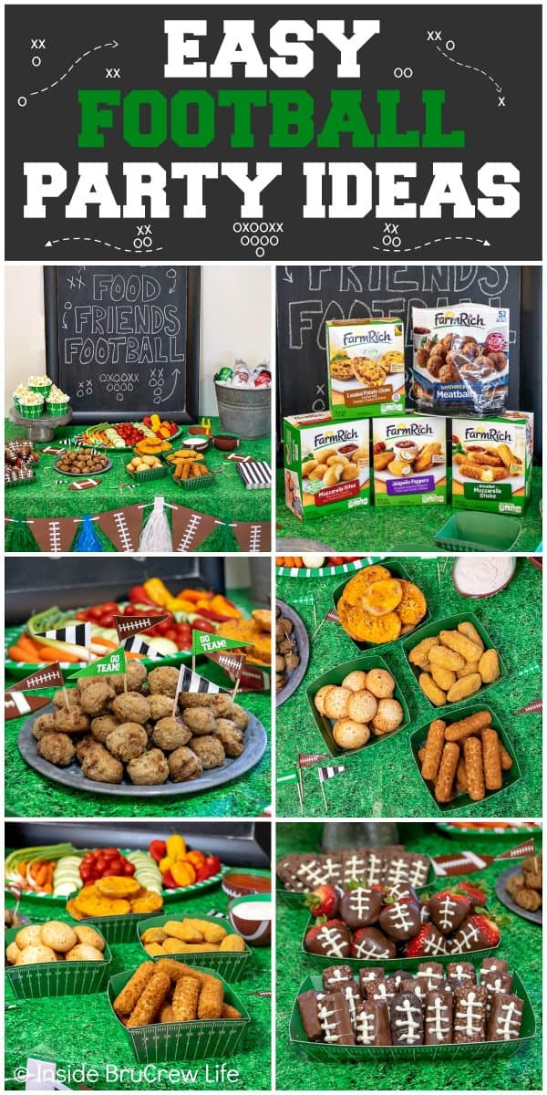 Easy Football Party Ideas - plan a simple game day gathering with these easy tips for snacks, drinks, dessert, and decorations! #footballparty #gameday #gamedaysnacks #farmrich #ad #winndixie #partytips