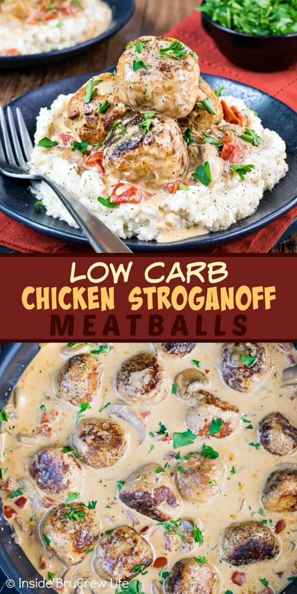 Low Carb Chicken Stroganoff Meatballs - serve these easy chicken meatballs and mushroom gravy over mashed cauliflower for a healthy dinner option. This delicious recipe is great for keto, low carb, or lean and green meal plans! #lowcarb #keto #leanandgreen #chicken #meatballs #stroganoff #healthy #dinner #skilletdinner #onepanmeal