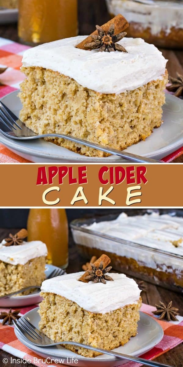Apple Cider Cake - this awesome fall cake is full of spices, apple cider, and shredded apples. This is an easy and delicious recipe to share at fall parties or events #cake #apple #applecider #frosting #spicecake #cakemix #fall #recipes #doctoredcakemix