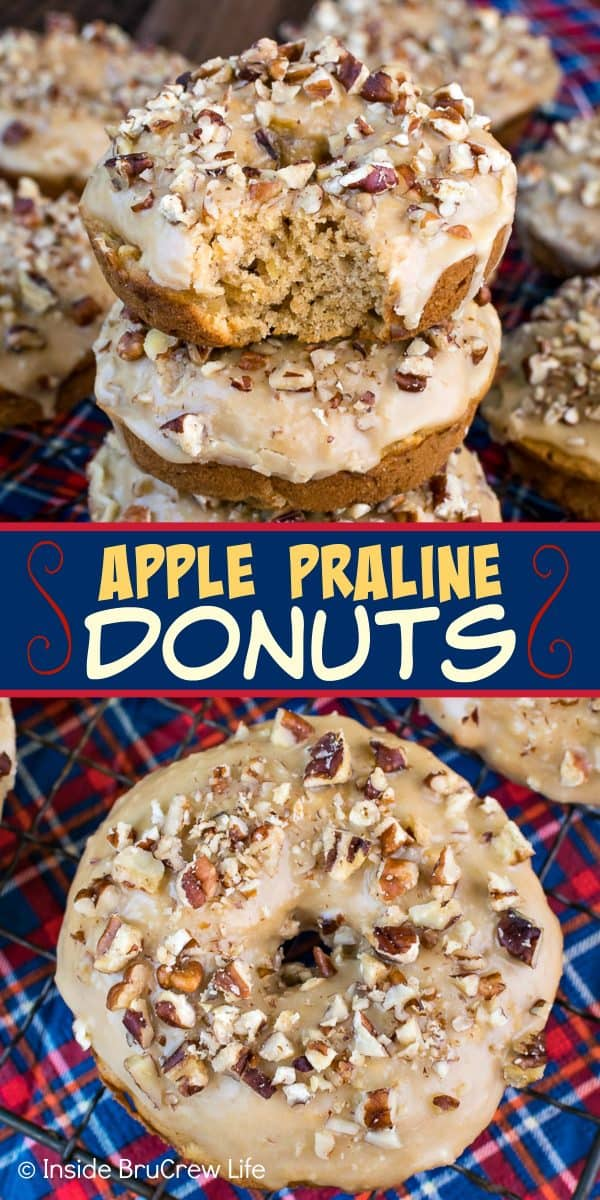 Apple Praline Donuts - these easy baked donuts are loaded with apples and pecans. The sweet praline glaze on top adds just the right touch! Try this recipe for breakfast this fall! They are delicious with apple cider or coffee! #donuts #apple #pecans #praline #homemade #bakeddonuts #fall #recipes #breakfast #brunch #afterschoolsnack