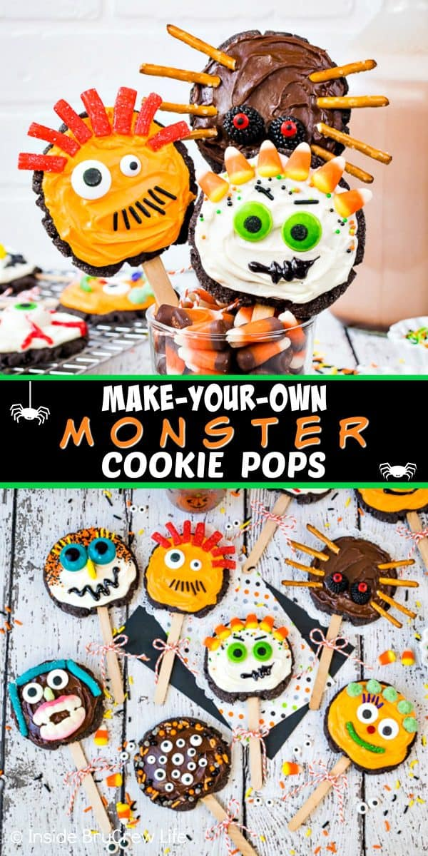 Make Your Own Monster Cookie Pops - set up a cookie decorating station at your Halloween parties this year. Frosting, sprinkles, and candies turn sugar cookies into fun monster cookie pops! Easy activity for kids of all ages! #sugarcookies #chocolate #frosting #halloween #milklife #ad #pourmoremilk #halloweencrafts #halloweentreats #halloweenparty #simpleingredients #cookiepops #partyideas
