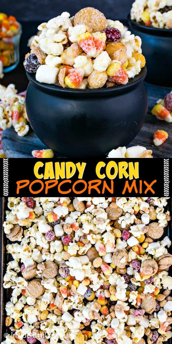 Candy Corn Popcorn Mix - this easy white chocolate covered snack mix is loaded with candy, cookies, peanuts, and marshmallows. Make this no bake recipe for fall or Halloween parties and watch it disappear in a hurry! #snackmix #popcorn #whitechocolate #candycorn #peanuts #nutterbutters #fall #halloween #partymix