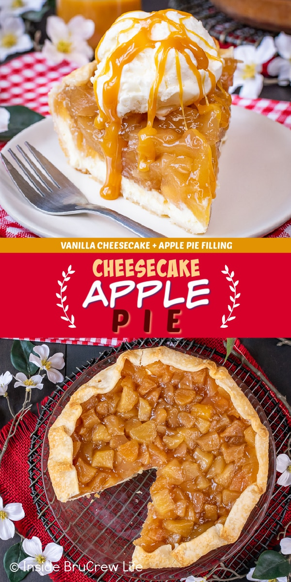 Two pictures of Cheesecake Apple Pie collaged together with a red text box