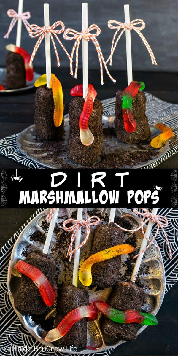 Dirt Marshmallow Pops - gummy worms and Oreo cookie crumbs transform chocolate covered marshmallow pops into a fun dirt dessert. Easy no bake recipe for Halloween or school parties! #halloween #dirtdessert #marshmallowpops #chocolatecoveredmarshmallows #gummyworms #halloween #nobakedessert #chocolate #marshmallows