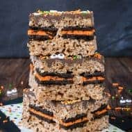 Halloween Oreo Stuffed Rice Krispie Treats