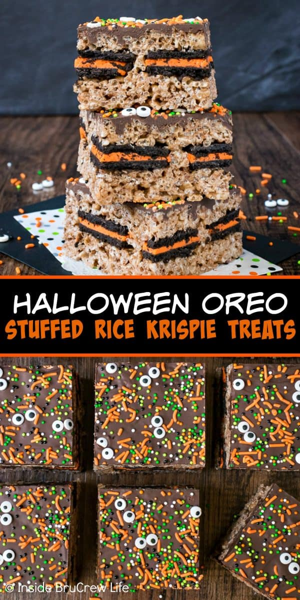 Halloween Oreo Stuffed Rice Krispie Treats - chocolate, sprinkles, and Oreo cookies add a fun festive flair to these easy rice krispie treats! Make this recipe for fall parties and bake sales and watch everyone devour them! #ricekrispies #oreocookies #nobakedessert #fall #chocolate #halloween #bakesaletreats