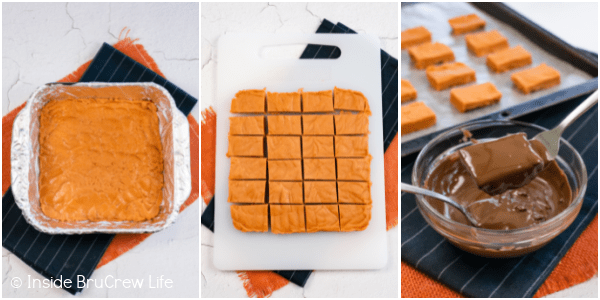 Three pictures collaged together showing the steps to cutting and dipping homemade Butterfingers in chocolate.